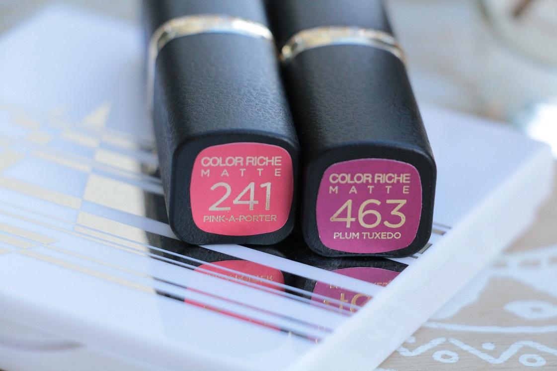 L'Orèal-Color Riche-Matte-Addiction-Lippenstifte-peach-purple--pink-a-porter-463-plum-tuxedo-das-leben-ist-schoen