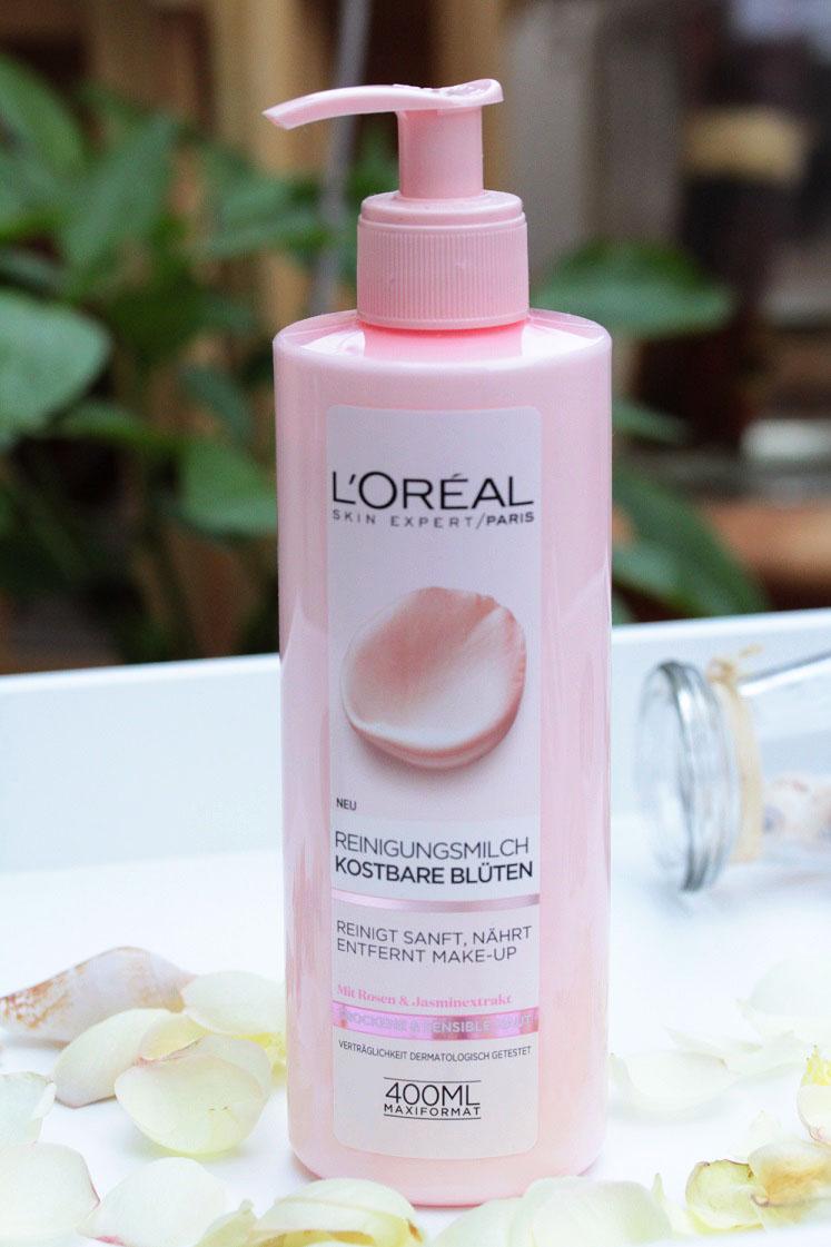L'Oréal-kostbare-blüten-reinigungsserie-reinigungsmilch-leben-ist-schoen